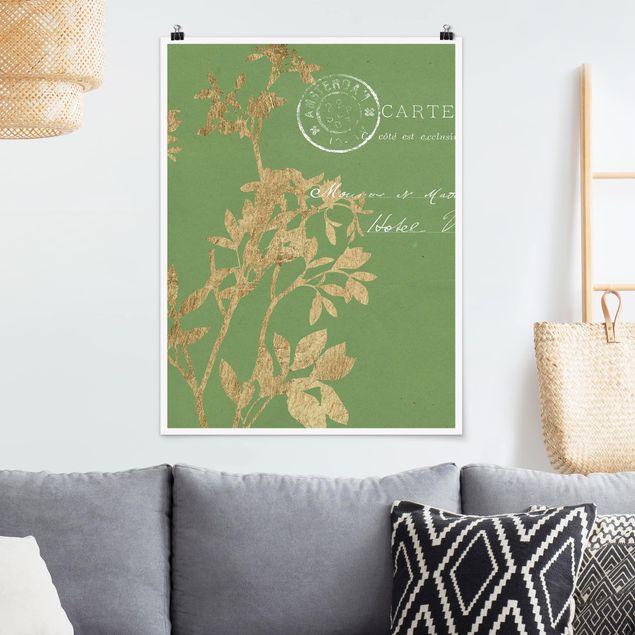 Poster - Goldene Blätter auf Lind I - Hochformat 3:4