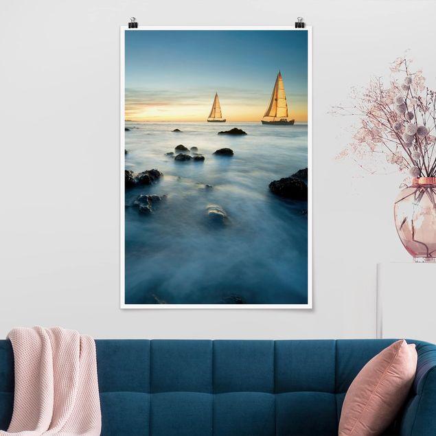 Poster - Segelschiffe im Ozean - Hochformat 3:2