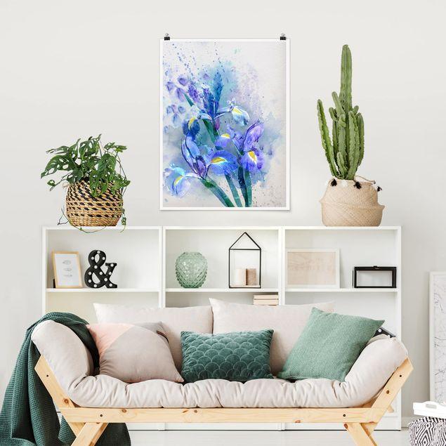 Poster - Aquarell Blumen Iris - Hochformat 3:4