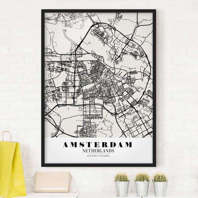 Bild mit Rahmen - Stadtplan Amsterdam - Klassik - Hochformat 3:4