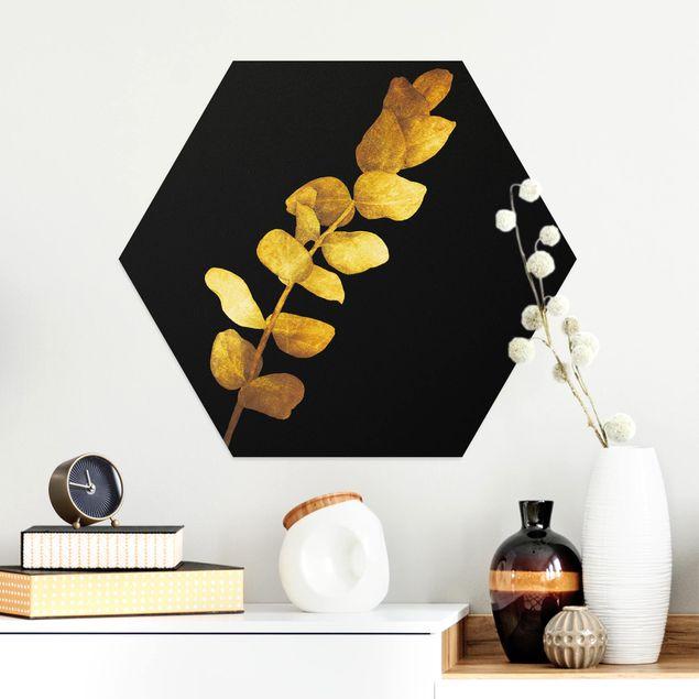 Hexagon Bild Alu-Dibond - Gold - Eukalyptus auf Schwarz