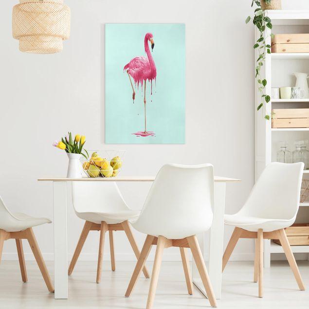 Leinwandbild - Jonas Loose - Schmelzender Flamingo - Hochformat 3:2