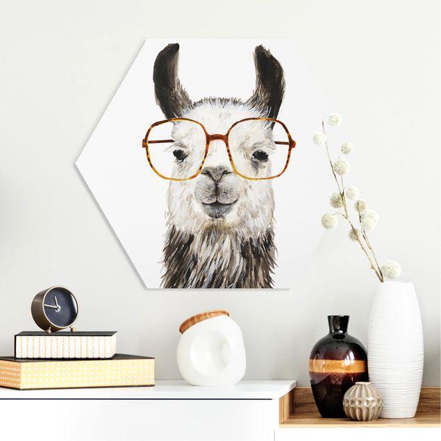 Hexagon Bild Forex - Hippes Lama mit Brille IV