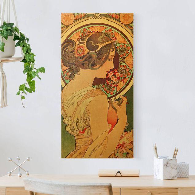 Leinwandbild Gold - Alfons Mucha - Schlüsselblume - Hochformat 1:2