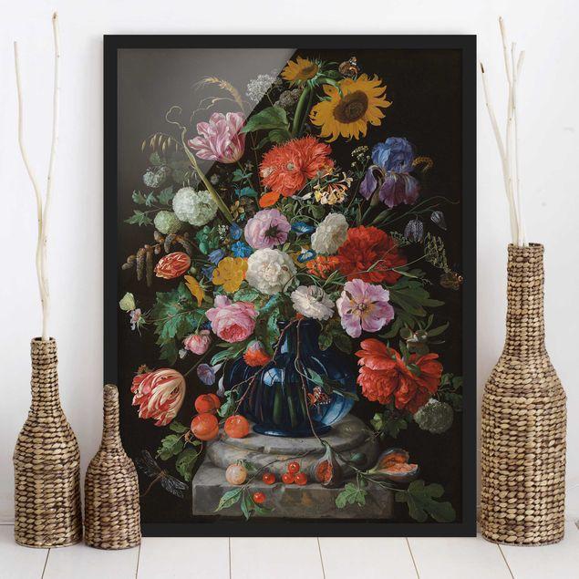 Bild mit Rahmen - Jan Davidsz de Heem - Glasvase mit Blumen - Hochformat 3:4