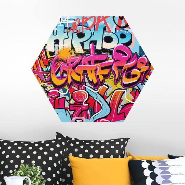 Hexagon Bild Alu-Dibond - HipHop Graffiti