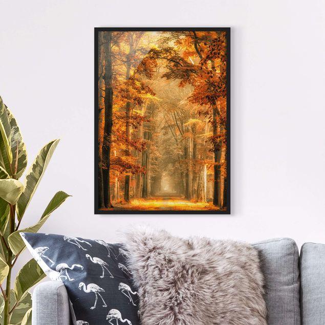 Bild mit Rahmen - Märchenwald im Herbst - Hochformat 3:4