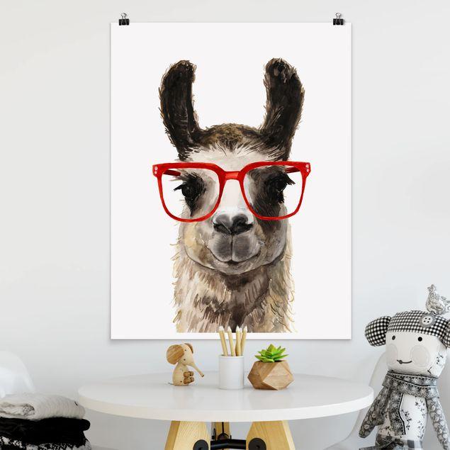 Poster - Hippes Lama mit Brille II - Hochformat 3:4