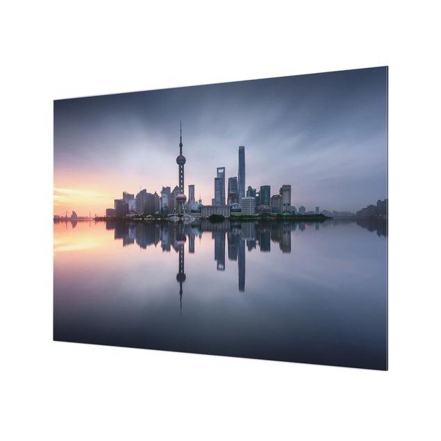 Glas Spritzschutz - Shanghai Skyline Morgenstimmung - Querformat - 4:3