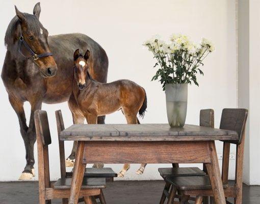 Wandtattoo Pferd No.265 Trakehnerstute & Fohlen