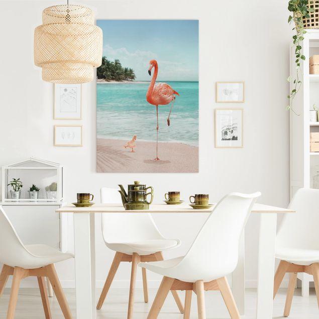 Leinwandbild - Jonas Loose - Strand mit Flamingo - Hochformat 3:2