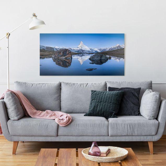 Leinwandbild - Stellisee vor dem Matterhorn - Querformat 2:1