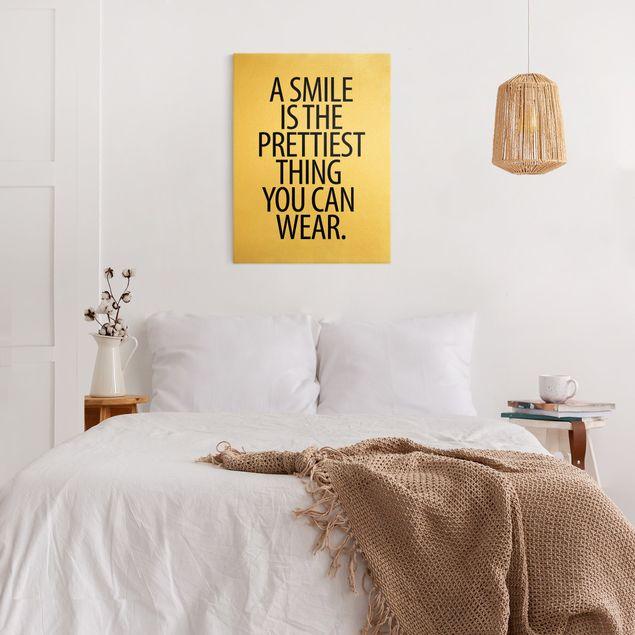 Leinwandbild Gold - A Smile is the prettiest thing Sans Serif - Hochformat 3:4