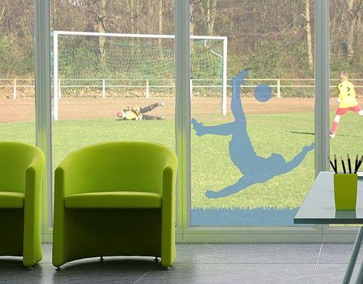 Fensterfolie - Fenstertattoo No.1033 Fußballer in Aktion - Milchglasfolie