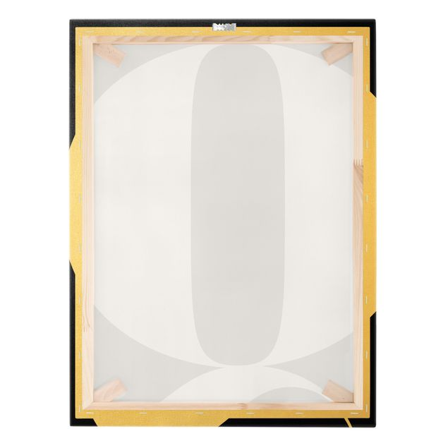 Leinwandbild Gold - Antiqua Letter Q Schwarz - Hochformat 3:4