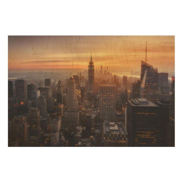 Holzbild - Manhattan Skyline Abendstimmung - Querformat 2:3