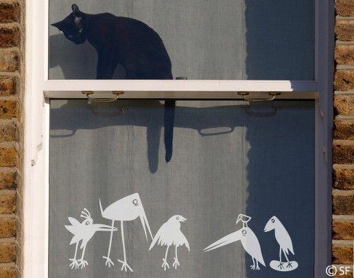 Fensterfolie - Fenstertattoo No.SF927 Funny Birds - Milchglasfolie
