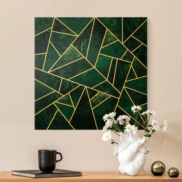 Leinwandbild Gold - Goldene Geometrie - Dunkles Türkis - Quadrat 1:1