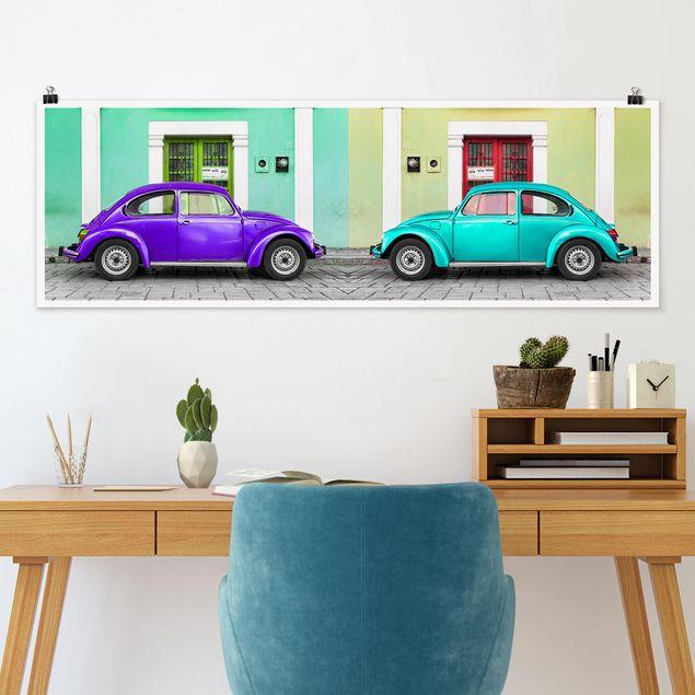 Poster - Beetles Lila-Türkis - Panorama Querformat