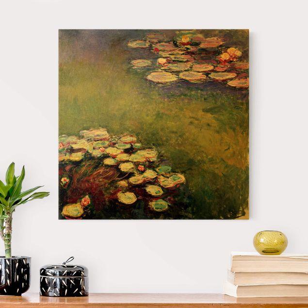 Leinwandbild Gold - Claude Monet - Seerosen - Quadrat 1:1