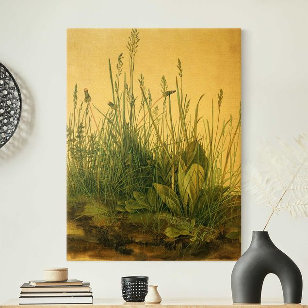 Leinwandbild Gold - Albrecht Dürer - Das große Rasenstück - Hochformat 3:4
