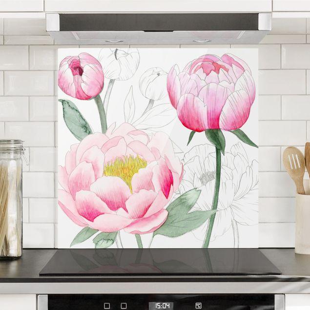 Glas Spritzschutz - Zeichnung Rosa Päonien II - Quadrat - 1:1