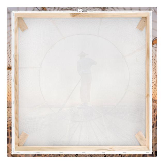 Leinwandbild - Intha Fischer am Morgen - Quadrat 1:1