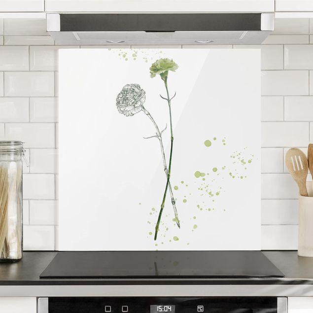 Glas Spritzschutz - Botanisches Aquarell - Nelke - Quadrat - 1:1
