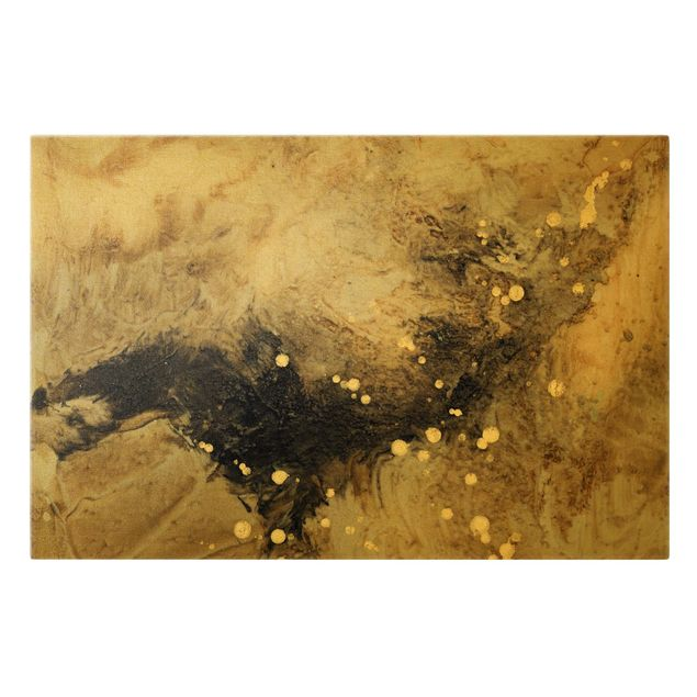 Leinwandbild Gold - Goldener Treibsand I - Querformat 3:2