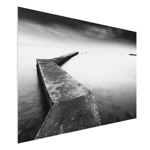 Forex Fine Art Print - Weiter Pier schwarz-weiß - Querformat 2:3
