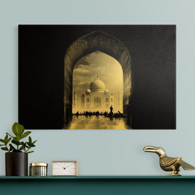 Leinwandbild Gold - Das Tor zum Taj Mahal - Querformat 3:2