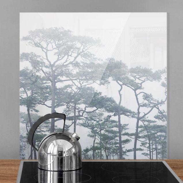 Glas Spritzschutz - Baumkronen im Nebel - Quadrat - 1:1