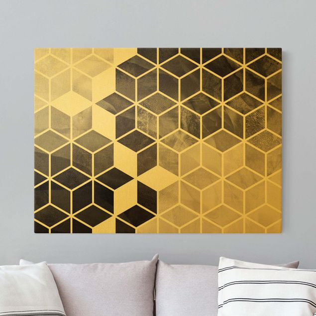 Leinwandbild Gold - Goldene Geometrie - Schwarz Weiß - Querformat 4:3