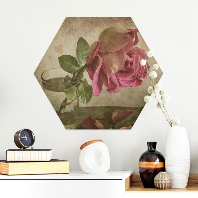 Hexagon Bild Alu-Dibond - Tear of a Rose