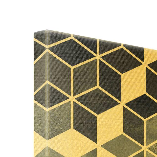 Leinwandbild Gold - Goldene Geometrie - Blau Weiß - Hochformat 2:3