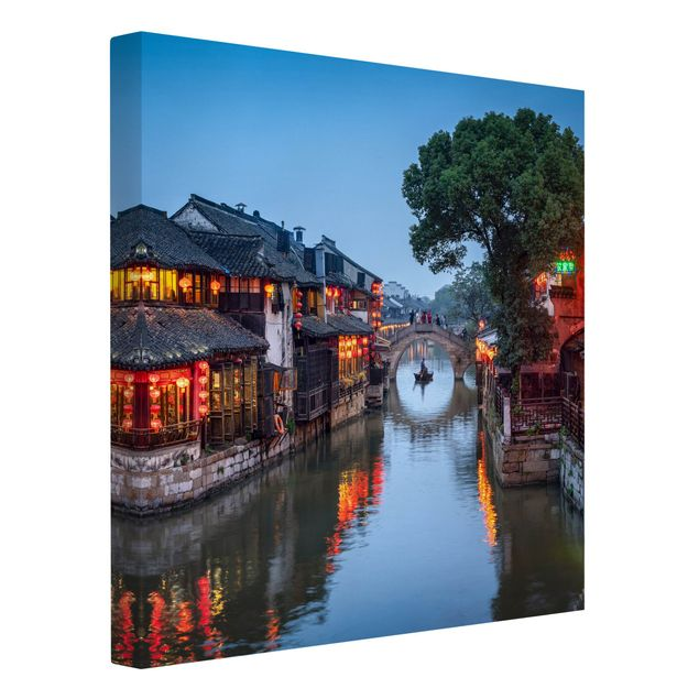 Leinwandbild - Abendstimmung in Xitang - Quadrat 1:1