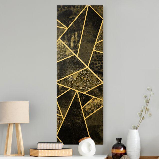 Leinwandbild Gold - Goldene Geometrie - Graue Dreiecke - Hochformat 1:3