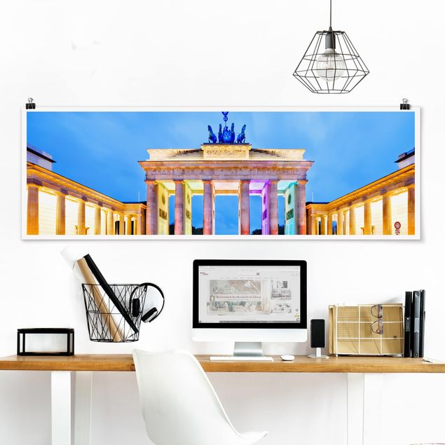Poster - Erleuchtetes Brandenburger Tor - Panorama Querformat