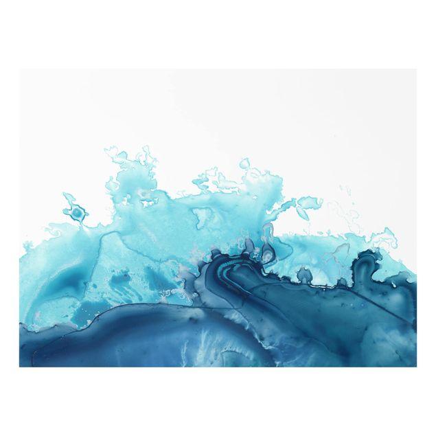 Glas Spritzschutz - Welle Aquarell Blau I - Querformat - 4:3