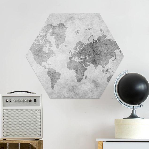 Hexagon Bild Forex - Vintage Weltkarte II