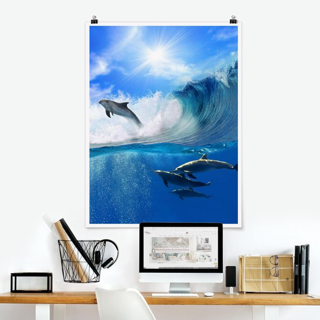 Poster - Playing Dolphins - Hochformat 3:4