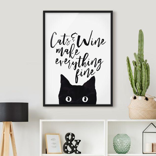 Bild mit Rahmen - Cats and Wine make everything fine - Hochformat 3:4
