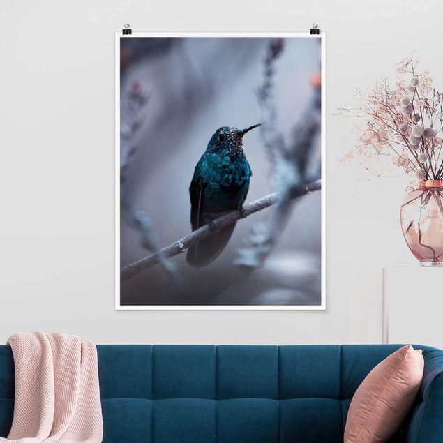 Poster - Kolibri im Winter - Hochformat 3:4