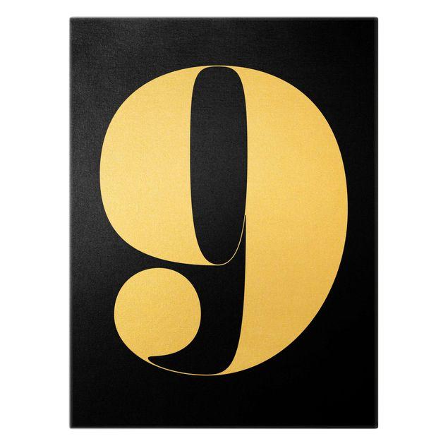 Leinwandbild Gold - Antiqua Zahl 9 - Hochformat 3:4