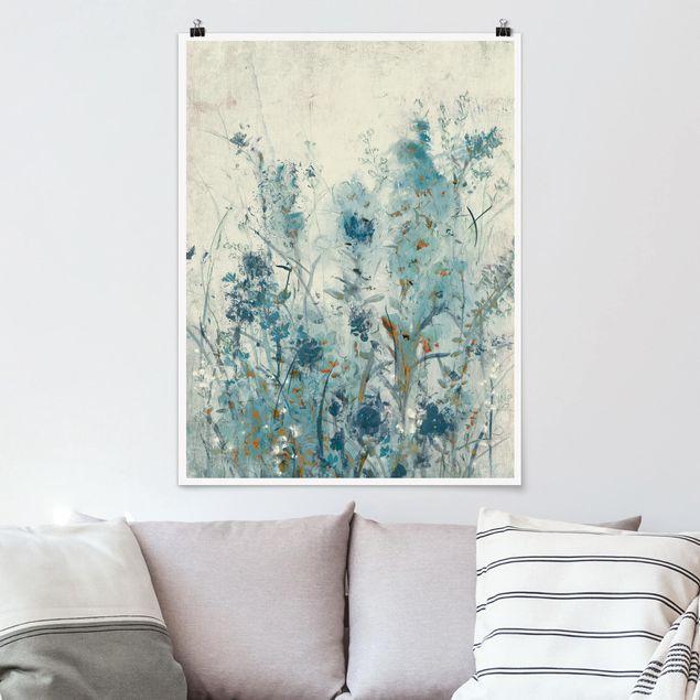Poster - Blaue Frühlingswiese II - Hochformat 3:4