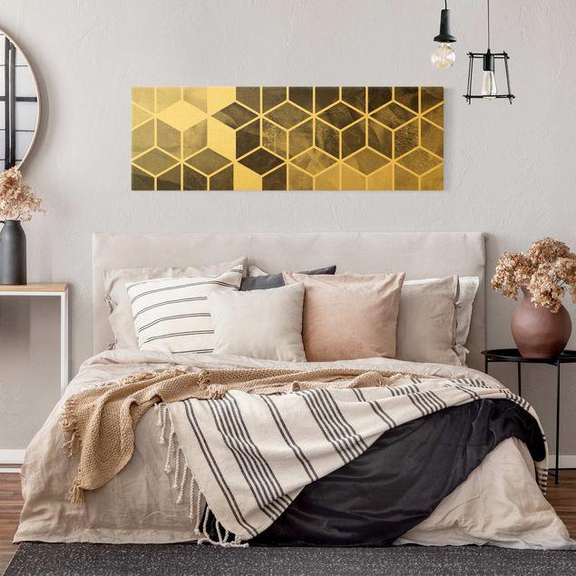 Leinwandbild Gold - Goldene Geometrie - Schwarz Weiß - Panorama 3:1