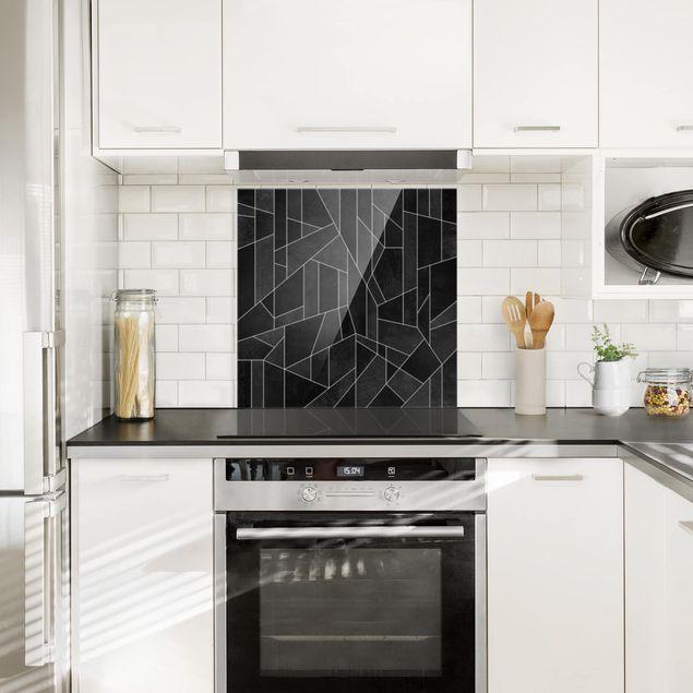 Glas Spritzschutz - Schwarz Weiß Geometrie Aquarell - Quadrat - 1:1