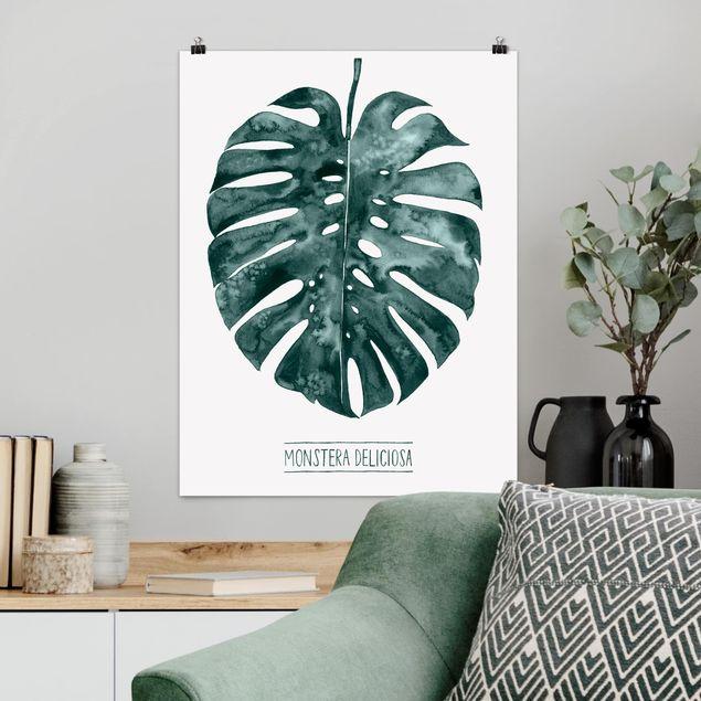 Poster - Smaragdgrüne Monstera Deliciosa - Hochformat 3:4