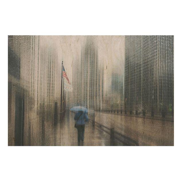 Holzbild - Verregnetes Chicago - Querformat 2:3