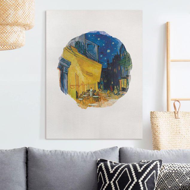 Leinwandbild - Wasserfarben - Vincent van Gogh - Café-Terrasse in Arles - Hochformat 4:3
